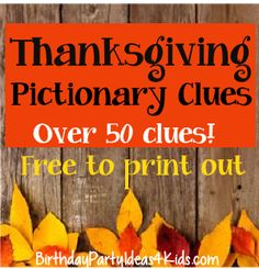 Thanksgiving / Fall Pictionary Game |  Kids, Tweens, Teens