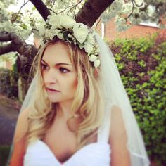 i think the flower crown/veil combo takes the cake! :) Flower crown headband ideal for the Bride in by FlowersbySara, £38.00