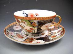 EW Made in Japan Porcelain Imari #8088 Tea Cup Saucer Gold Accent Chrysanthemum #EW