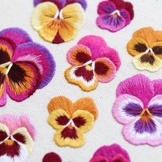 Pansies: Hand Embroidery Pattern / Thread Painting Tutorial / PDF Digital Embroidery Guide / Learn How to Paint With Thread / Pansy Hoop Art - Hand Embroidery Stitches Floral Embroidery Patterns, Simple Embroidery, Hand Embroidery Designs, Embroidery Art, Embroidery Stitches, Beginner Embroidery, Embroidery Techniques, Bordado Floral, Thread Painting
