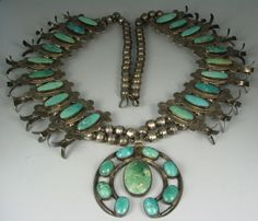Amazing Old Navajo 29 Turquoise Squash Blossom Necklace
