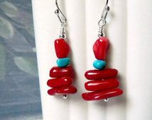 Sale Stacked Pebble Chips Red Coral Earrings Dangle Turquoise Earrings Beaded Gemstone Earrings Coral Jewelry