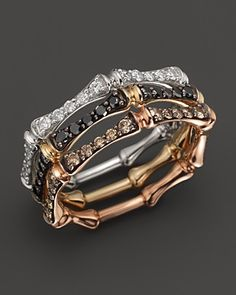 Brown Diamond Stackable Bamboo Ring in 14K Rose Gold, .30 ct. t.w. | Bloomingdale's