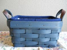 Longaberger Special Edition Bold Blue Stain Tea Basket Set with Indigo Liner~EUC