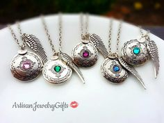 Beautiful gift for her! Birthstone engraved initial locket angel wing necklace handmade