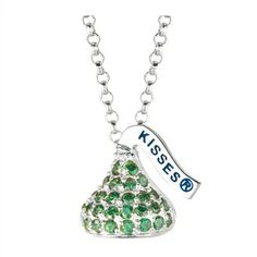 Designed in Sterling silver with green Cubic Zirconium , this Small Flat Back Hershey's Kiss August Pendant includes an 16 inches with 2 inch extension Rolo chain with Lobster claw.