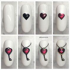 Love Nails, Pretty Nails, Nail Art Saint-valentin, Valentine's Day Nail Designs, Light Elegance, Valentines Design, Heart Nails, Key To My Heart, Christmas Nail Art