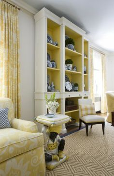 Farrow and Ball's Citron, painted inside of bookcases