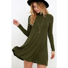 Sway, Girl, Sway! Olive Green Swing Dress (£26) ❤ liked on Polyvore featuring dresses, green, flare dress, turtleneck dress, long fitted dresses, long dresses and green turtleneck