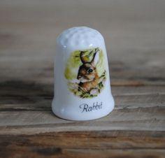 Vintage china thimble Fenton  Rabbit by TheVintageCoopUK on Etsy