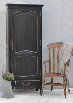 Antique Hand Painted Oak Single Door Small French Armoire, vintage interior style by if you looking for rustic, distressed, industrial, ideas for your home then visit www.homebarnshop.co.uk