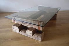 Coffee Table. Reclaimed Wood and Glass. Barn Wood Coffee