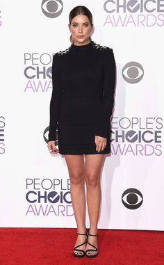 """Ashley Benson from 2016 People's Choice Awards Red Carpet Arrivals  Before arriving on the carpet, the Pretty Little Liars star Facetimes with her """"wife"""" Shay Mitchell."""