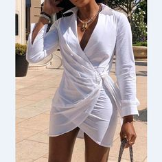 Dress Shirts For Women, Clothes For Women, Trend Fashion, Womens Fashion, Chic Type, Camisa Formal, Mode Shop, Mini Shirt Dress, Pattern Fashion