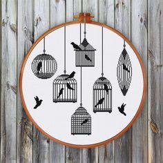 Bird Cages Silhoutte cross stitch pattern| Modern minimalist bird counted cross stitch chart| Easy beginner cross stitch pattern| Home decor