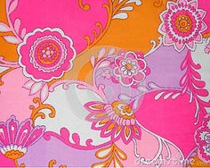 sample bright fabrics in the pink-orange colours with floral motifs