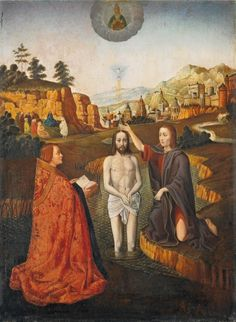 Gerard David - Baptism of Christ, Auction 957 Old Masters, Lot Baptism Of Christ, Jesus Christ, Renaissance Artworks, Gerard David, Masonic Symbols, Catholic Art, Tarot Decks, Art History, Mystery