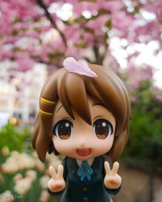 "☄★○ collectible anime figures ~ like 2D come to life ♥ ""K-On!"" nendoroid figure - chibi - peace sign - cherry blossom - sakura - flower petal - in nature - cute - kawaii"
