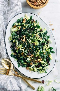 Shredded Brussels Sprout and Kale Salad with Maple Pecan Parmesan - Making Thyme for Health