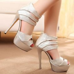 High Heel Ankle Wrap Silver Sandals