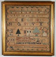 An alphabet and townscape sampler, embroidered by Jane M. Stull in 1839, with an inscription in memory of her sister. Collectors of Girls' Sampler Embroidery on East Coast - NYTimes.com