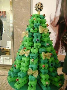 weihnachten dekoration tannenbaum eierpackung