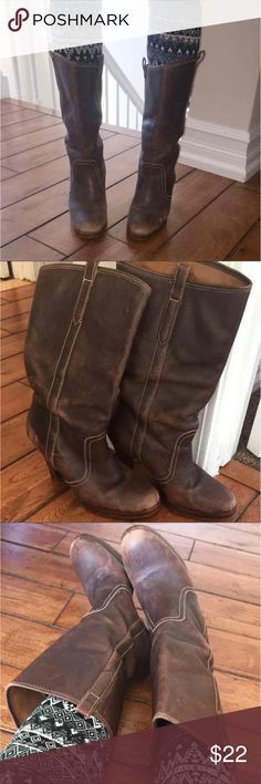 Brown leather boots size 7 Real Leather heel boots they have a vintage look I love them! They're still tons of life left in them!!! Honestly these boots will last FORVER!  3 inch heel, size 7  Ask any questions  Ps very comfy! Shoes Heeled Boots