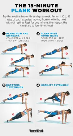 15 minute plank workout · women's health