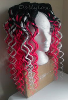 http://facebook.com/dollyloxdreads  Double ended black dreads, transitional dreads Black - blonde, black - pink. Curly / wavy 30 inches long! https://www.facebook.com/Dollyloxdreads #dreads #dollylox #hair #dreadlocks #synthdreads #syntheticdreads #extensions #black #pink #white #long #falls