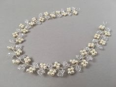 IRIS A Swarovski crystal and pearl wedding hair vine bridal