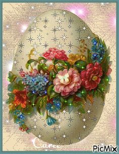 I don& know what surprise you can expect from the Easter egg . Happy Easter Gif, Happy Easter Messages, Easter Wishes, Easter Greeting Cards, Flowers Gif, Easter Flowers, Ostern Wallpaper, Easter Pictures, Easter Art