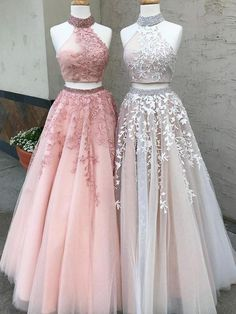 2-Pieces High Neck Lace Tulle Long Prom | DestinyDress