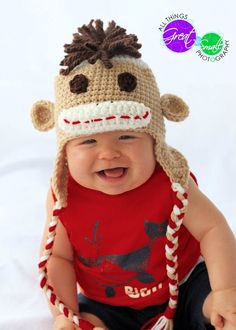 Lil' Man Sock Monkey Hat    Pattern:  Speckled Frog Crochet www.speckledfrogcrochet.com    Photo:  All Things Great and Small Photography - www.allthingsgreatandsmallphotography.com