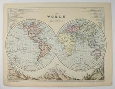 Antique world map vintage eastern hemisphere map and astronomy print antique world map vintage eastern hemisphere map and astronomy print engraving 1888 unique gift for home office christmas gift under 25 office christmas gumiabroncs Images