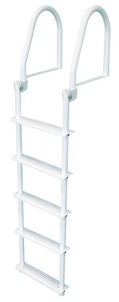"JIF Marine Five Step Flip Up White Dock Ladder (FBM5). White galvalume construction. Perfect for docks, seawalls or swim rafts. Strong support 1.5"" Tubing. 75"" Ladder."