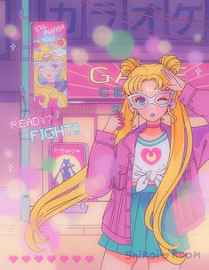 vaporwave sailor moon Lets Play (Usagi Version) - Art Print Shiroi Room Sailor Moons, Arte Sailor Moon, Sailor Moon Fan Art, Sailor Moon Usagi, Arte Do Kawaii, Kawaii Art, Sailor Scouts, Sailor Moon Kristall, Tres Belle Photo