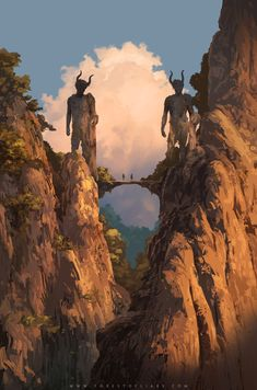 """""""The Horned Twins"""" by Tohad on DeviantArt Sylvain Sarrailh Fantasy City, Fantasy Places, Fantasy World, Fantasy Art Landscapes, Fantasy Landscape, Landscape Art, Fantasy Concept Art, Fantasy Artwork, Dungeons And Dragons"""