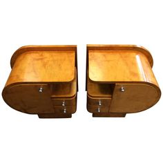 So darn period and so darn practical.   1930s art deco bedside tables or nightstands that probably need to be a set to work,  but do work quite nicely when paired.