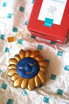 THUN addobbo da appendere, il sole in blu scuro e oro, raro, fuori produzione