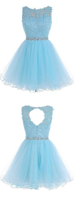 A-line Scoop Short Blue Zipper-up Organza Homecoming Dress With Appliques…