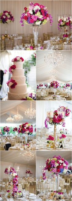 Featured Photographer: Michael Will Photography; elegant pink wedding reception details