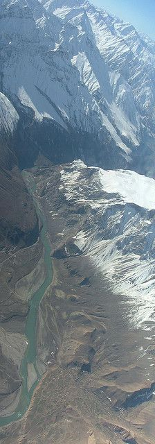 aerial view, Hindu Kush mountain range and Panj River Valley, south of Amurn, Afghanistan