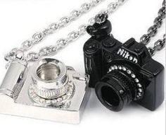Clear Rhinestone Studded Camera Pendant Necklace