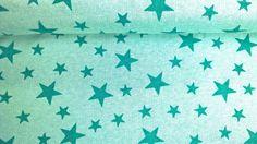 Stoff Sterne - Sweatstoff Baumwolle Sterne Sternenhimmel mintgrün - ein Designerstück von Stoffe-guenstig-kaufen bei DaWanda