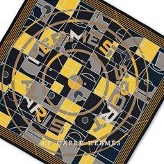 "Le Carré Hermès ""Hermès Sport"" scarf in silk twill. Design: Anamorphée. Play with your Hermès scarf with the Silk Knots app! hermes.com/silkknots #Hermes #Silk #SilkKnots"