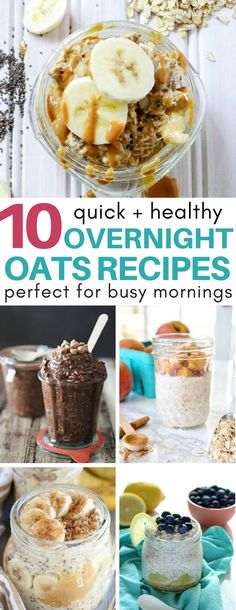 YUM! You must try these amazing overnight oats recipes like brownie and cake batter that is only 250 calories! Perfect breakfast ideas for my clean eating and weight loss plans.