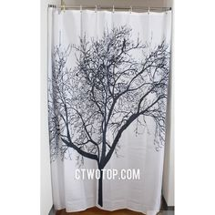 Black And White Tree Patterned Simple Unique Cheap Shower Curtains - $29.99, free shipping, ~70x70