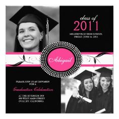 Graduation Party Invitations Hot Pink and Black invitation, 325x325 in 59.9KB