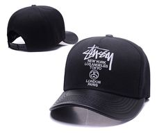 Men s   Women s Stussy World Tour PU Leather Visor Curved Dad Hat - Black    White 6e4b8e8d5