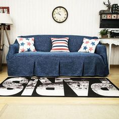 KARUILU home Sofa Cover 1 Piece Heavy Weight Fabric, Sofa Protector Slipcover with Pins for Kids and Pets, Machine Washable W x L, Ink Blue) Couch Cushion Covers, Loveseat Covers, Recliner Cover, Couch Cushions, Sofa Throw Cover, Sofa Slipcovers, Furniture Covers, Sofa Furniture, Denim Furniture